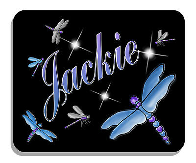 Dragonflies Mouse Pad Personalize Gifts Any Name Or Text Purples Blues