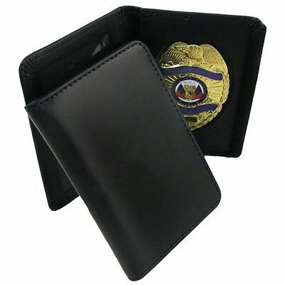 BADGE CASE Black leather without monogram fits most standard size shield badges