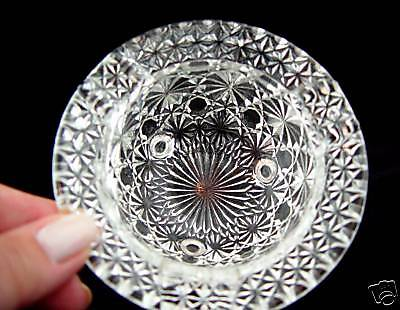 LOVELY Antq. PRESSED GLASS FOOTED ASHTRAY-HELMET SHAPE
