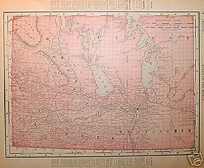 1895 Manitoba Dated Color Map*  Maritime on  back