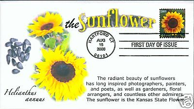 COVERSCAPE computer generated Sunflowers 42¢ stamp FDC