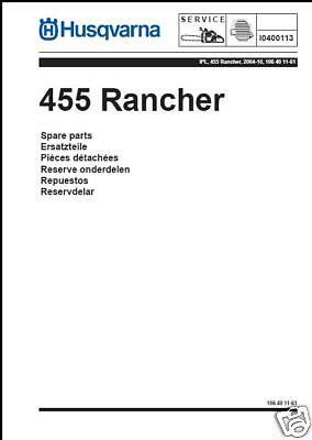 Husqvarna Chainsaw 455 Rancher Illustrated Parts List