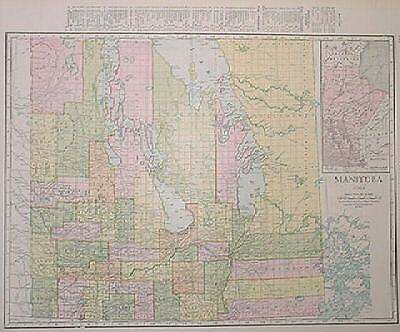 1915 Manitoba Canada Dated Color Map+