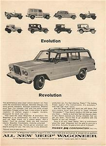 1964 Jeep Wagoneer  Magazine Ad. Old models shown