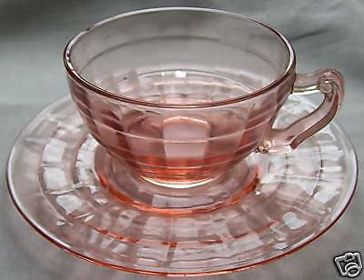 Hocking Glass Co. Block Optic Pink Curly-Handled Cup & Cup-Ring Saucer Set!