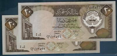 1986 -91 (L.1968) Central Bank Of Kuwait 20 Dinars *sign. 6* Running Serial Pair