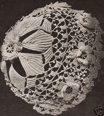 Vintage Antique Crochet PATTERN to make Baby Cap Hat Bonnet Irish Rose Leaf IriC