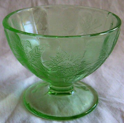 Floral Poinsettia Green Footed Sherbet Dish!