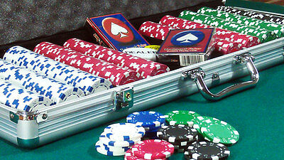 500pc POKER SET TEXAS HOLD'EM, PLAYING CARDS, BLINDS, DICE CHIPS, ALUMINIUM CASE