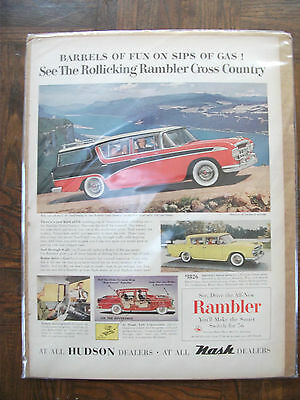 Collectibles Original Print Ad 1956 Hudson Dealers Rambler Cross Country 2 Page