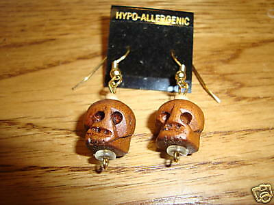 Skull head wooden hand carved earrings dead NEW Goth