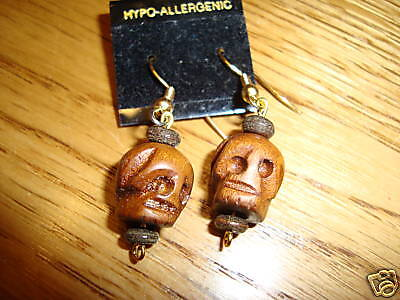 Skull head wooden hand carved earrings mini  NEW Goth wood