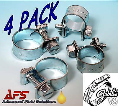 4 x 16mm - 18mm Jubilee Mini Hose Clips Clamp Nut & Bolt Air Fuel Pipe Water AFS
