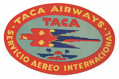 1950s Taca Airlines International Luggage Label