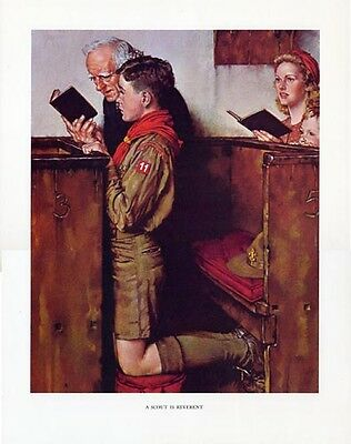Norman Rockwell Boy Scout Print SCOUT IS REVERENT 1940