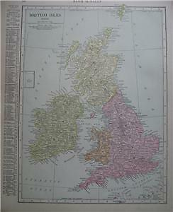 1915 British Isles Color Map*  Europe on back