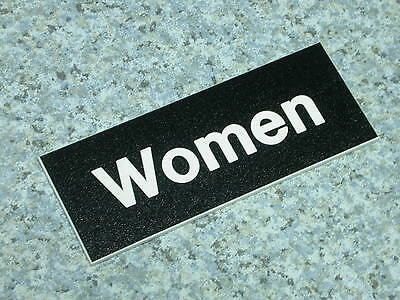 "Restroom Sign, Hager 350W Black, ""WOMAN"""