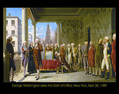 George Washington takes oath of office 1789, new print CHOICES 5x7 or request 8x