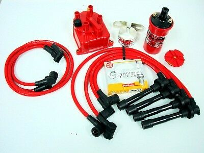 Vms 94-01Acura Integra Msd Coil Wires Ngk Plugs Red Distributor Cap Kit Ls Rs Gs