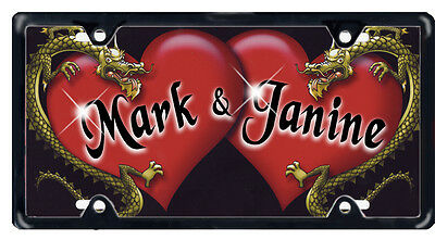 Hearts & Dragons Auto License Plate Personalize Gifts Any Name Or Text