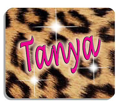 Leopard Design Mouse Pad Personalize Gifts Any Name Or Text Jungle Wild Cat