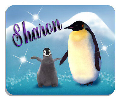 Penguin & Baby Mouse Pad Personalize Name Text Gifts Boys Girls Ladies Penguins