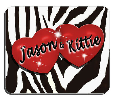 ZEBRA AND RED HEARTS PERSONALIZED MOUSE PAD
