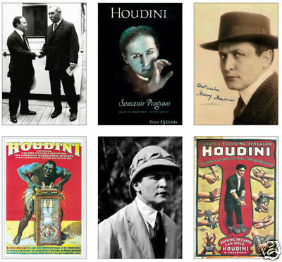 Harry Houdini Magician Magic 6 Card POSTCARD Set