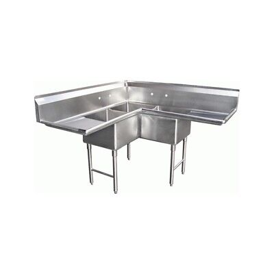 "3 Compartment Corner S/S Sink 24""x24"" 2 Drainboards"