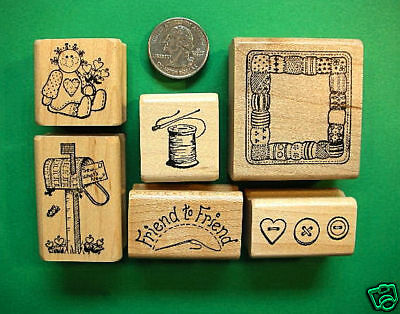 Friendship Sewing Rubber Stamp Set, wood mounted