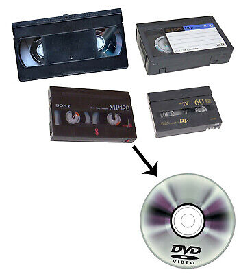 Riversamento Da Vhs, Vhs-C, 8 Mm., Digital 8, E Mini-Dv A Dvd-R Fino A 60 Minuti