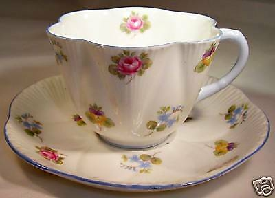 SHELLEY ROSE PANSY FORGET-ME-NOT CUP & SAUCER SET!