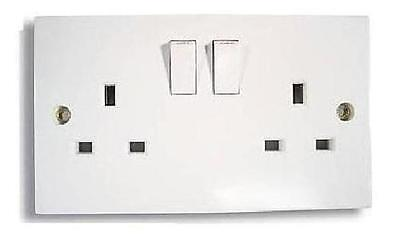 4 X Twin Double Switched Socket White 13amp Plug 2 Gang