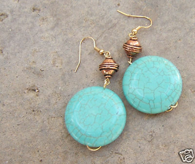 Blue Turquoise Gemstone Copper Earrings Big Beads Huge Gem Jewelry Made In Usa