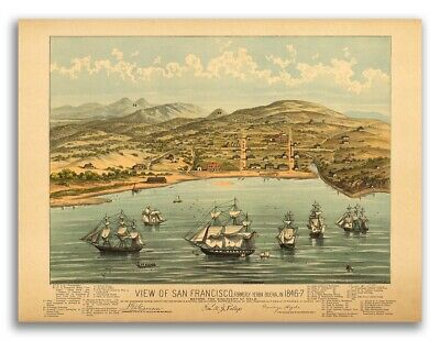Birds Eye View of San Francisco 1846 Historic Map 24x28