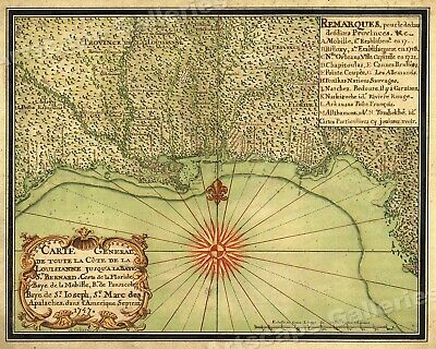 1740s Map of the New Orleans and the Gulf Coast - 24x30