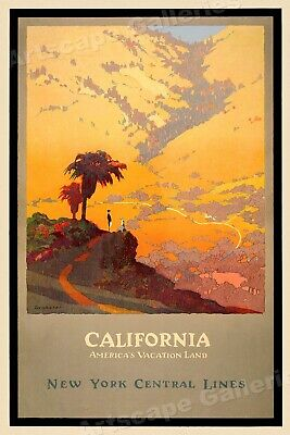 California America's Vacation Land 1920s Vintage American Travel Poster - 20x30