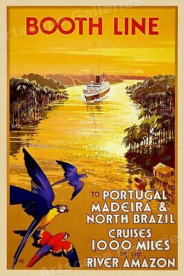 "1930s ""Booth Line Amazon River Cruises"" Portugal Vintage Travel Poster - 16x24"
