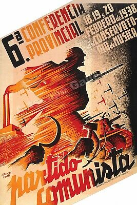 """Communist Party Conference"" 1930s Spanish Civil War Poster - 24x36"