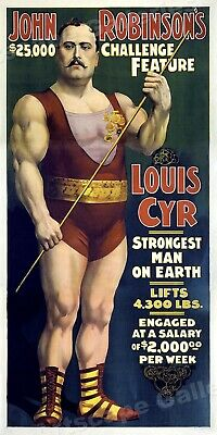 1890s Louis Cyr Strongman - Stongest Man on Earth! Poster - Huge 24x48!