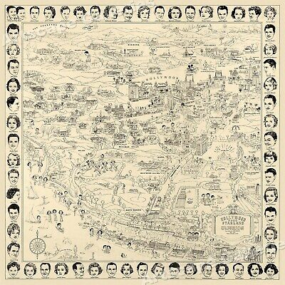 1937 Hollywood Starland Map of the Movie Stars 24x24