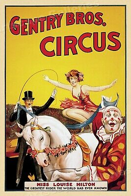 1930s Gentry Bros Horse Trick Riding Circus Poster - Miss Louise Hilton - 16x24