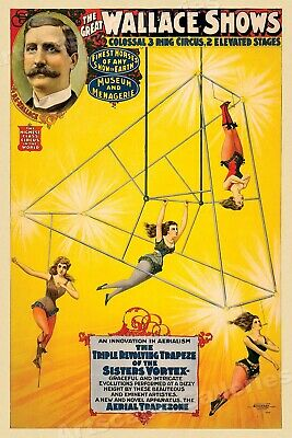 1890s Wallace Show Triple Revolving Trapeze Circus Poster - 24x36