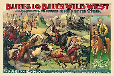 1890s Buffalo Bill's Rough Riders Congress of American Indians Poster - 24x36