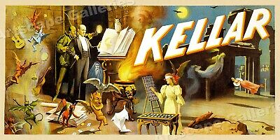 "1890s ""Kellar's"" Dungeon Classic Magic Magicians Advertising Poster - 24x12"