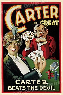 """Carter Beats the Devil"" Poker Game 1920s Classic Magic Poster - 24x36"