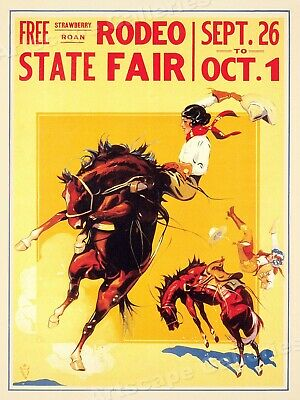 State Fair Rodeo 1930s Cowgirl Strawberry Roan Vintage Rodeo Poster - 18x24