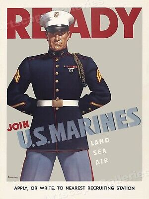 Ready! Join the U.S. Marines - WW2 Historic Marine Recruiting Poster - 24x32