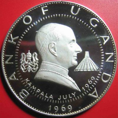 1969 UGANDA 30 SHILLINGS 1.9oz SILVER PROOF PAUL VI VISIT TO KAMPALA 60mm HUGE!