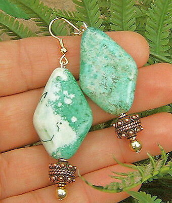 Green Patchy Turquoise Gemstone Earrings Copper Beads Natural Earth Jewelry Big